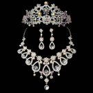 3 item Bridal Rhinestone AB Crystal Hair tiara tiara necklace earring set NR474