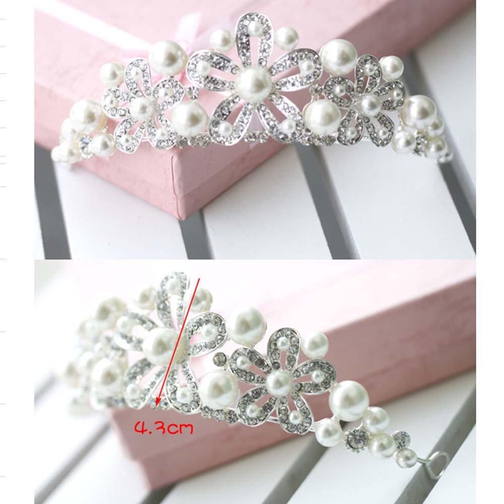 Bridal flower Rhinestone Headpiece Faux pearl Hair crown tiara HR310
