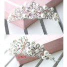 Bridal flower Rhinestone Headpiece Faux pearl Hair crown tiara HR310