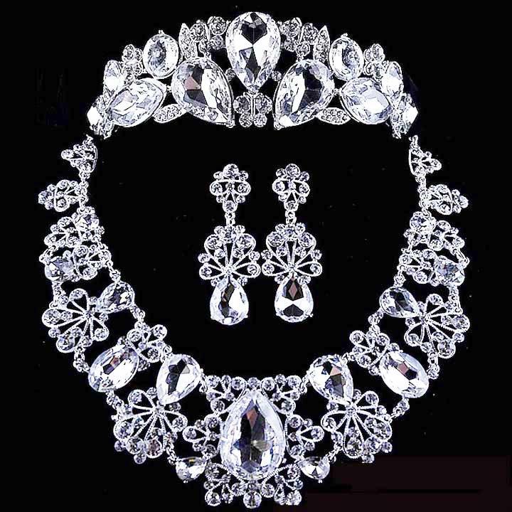 3 items Bridal Rhinestone crystal Topknot tiara earring necklace set NR311