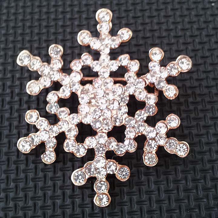 Bridal snowflake Corsage champagne gold Czech Rhinestone Brooch pin PI601