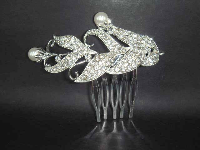 Bridal Rhinestone Faux Pearl Crystal Headpiece Tiara Hair Comb RB49