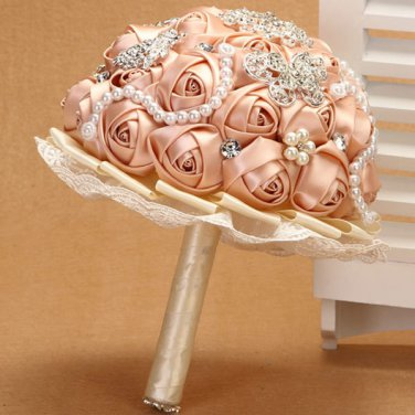 22 cm Bridal Brooch Bouquet Artificial Flower Faux pearl Posy WB08