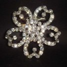 Bridal Flower Corsage Czech Rhinestone Brooch pin PI73