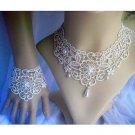 Bridal Prom Faux Pearl Lolita bracelet flower leaf tiara necklace set BR371