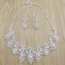 Bridal Rhinestone clear cystal silver tone earring necklace set  NR322