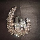 Bridal dress cake moon Corsage Czech Rhinestone Brooch pin Pi403