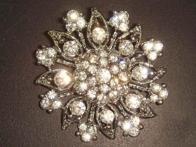 Bridal Crystal Bridesmaid Round Corsage Czech Rhinestone Brooch pin PI31
