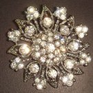 Bridal Crystal Bridesmaid Round Corsage Czech Rhinestone Brooch pin PI31