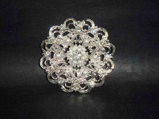 Bridal crystal Corsage Czech cake topper Rhinestone Brooch pin PI502