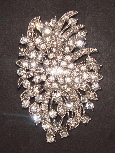Bridal dress Corsage Czech crystal cake topper Rhinestone Brooch pin PI471