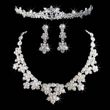3 items Bridal Clear Rhinestone crystal tiara earring necklace set NR285