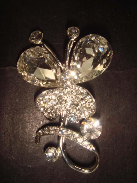 Bridal Butterfly Corsage Czech Crystal Rhinestone Brooch pin PI373