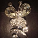 Bridal Butterfly Corsage Czech Crystal Rhinestone Brooch pin PI373