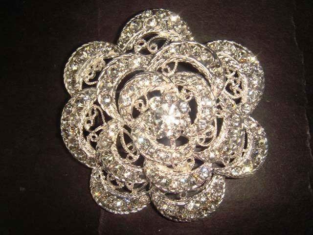 Bridal Vintage Style Corsage Czech  Flower Rhinestone Brooch pin PI368