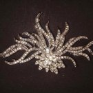 Bridal Dress decoration Silver tone Corsage Czech Rhinestone Brooch pin PI416