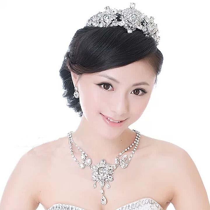 3 items Bridal dangle heart Rhinestone Crystal Prom necklace earring set NR442