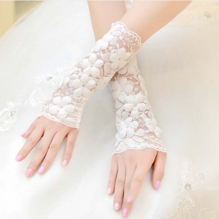 "8.5"" Bridal plastic rhinestone sexy Lace white Flower Fingerless Gloves S46"