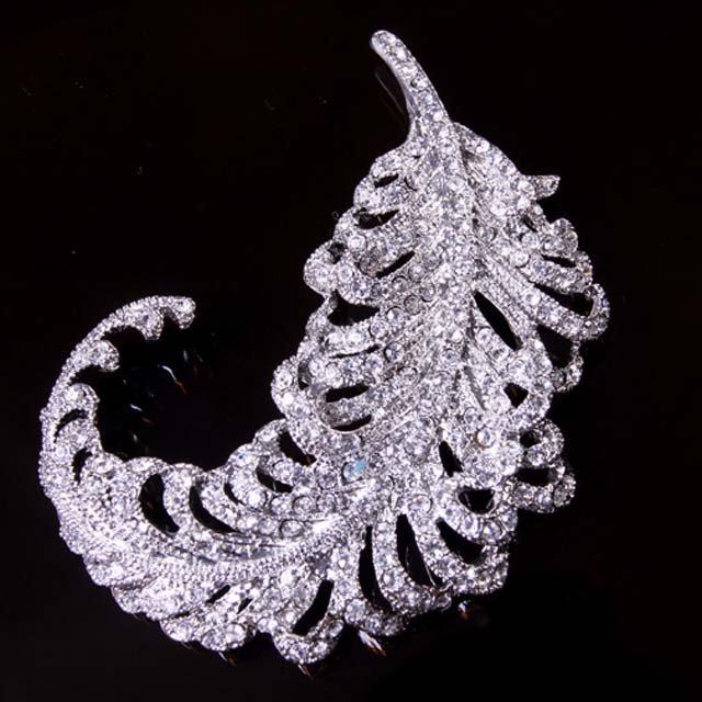 Bridal dress scarf Corsage Czech  Feather leave Rhinestone Brooch pin PI586