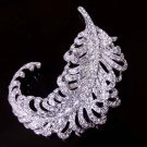 Bridal dress scarf Corsage Czech  Feather leave Rhinestone Brooch pin PI586