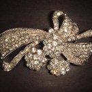 Bridal Clear Crystal silver tone Bow Corsage Czech Rhinestone Brooch pin Pi199