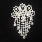 Bridal dangle Corsage Czech crystal Rhinestone Brooch pin Pi412