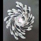 Bridal peacock Corsage Czech crystal  Rhinestone brooch pin PI599