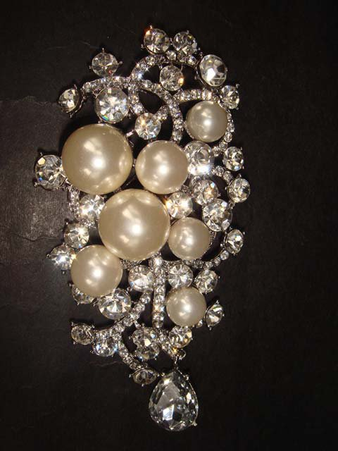 Huge Bridal Rhinestone Corsage Czech Crystal dangle Faux pearl Brooch pin PI360