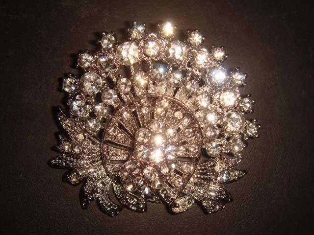 Bridal Vintage Style Bling Corsage Czech  Rhinestone Brooch pin PI181