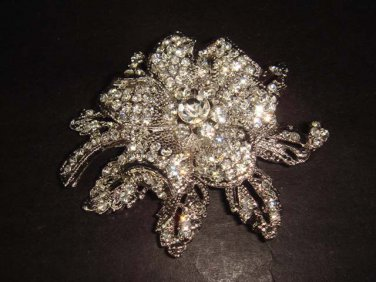 Bridal Flower Corsage Czech Rhinestone Brooch pin Pi353