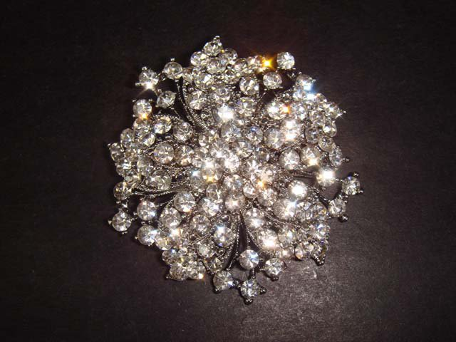 Bridal vintage style clear Corsage Czech Rhinestone silver tone Brooch pin PI282