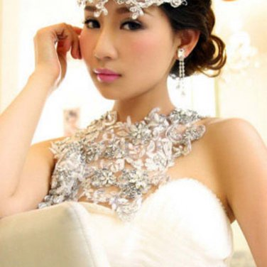 Bridal crystal Rhinestone shoulder deco bib Halter large necklace NR479