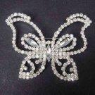 Bridal dress Clear crystal butterfly Corsage Czech Rhinestone Brooch pin PI409