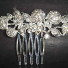4 pcs Bridal Rhinestone leaf Crystal Hair tiara Comb RB116