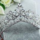 Bridal Rhinestone silver tone clear Crystal crown Headpiece Hair tiara HR340