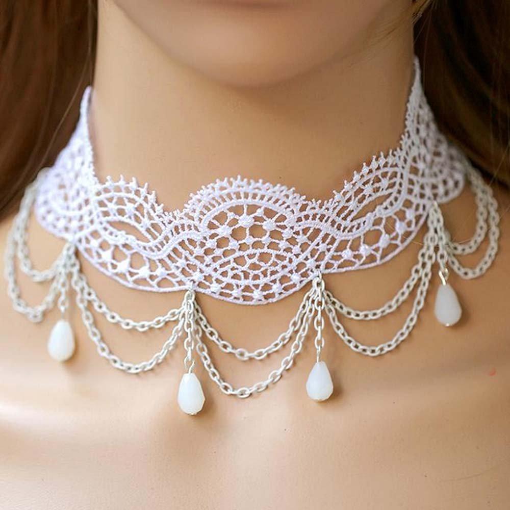 Bridal white Lolita Lace dangle Flower prom white necklace NR471