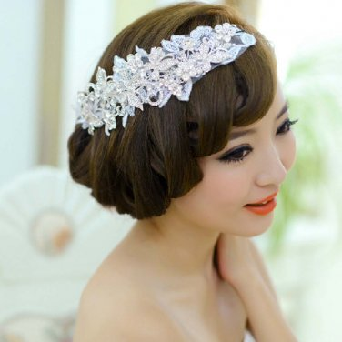 Bridal Rhinestone crystal lace butterfly Adjustable forehead band Tiara HR361