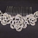 Bridal Rhinestone Crystal Flower rose Headpiece Hair tiara Comb RB550