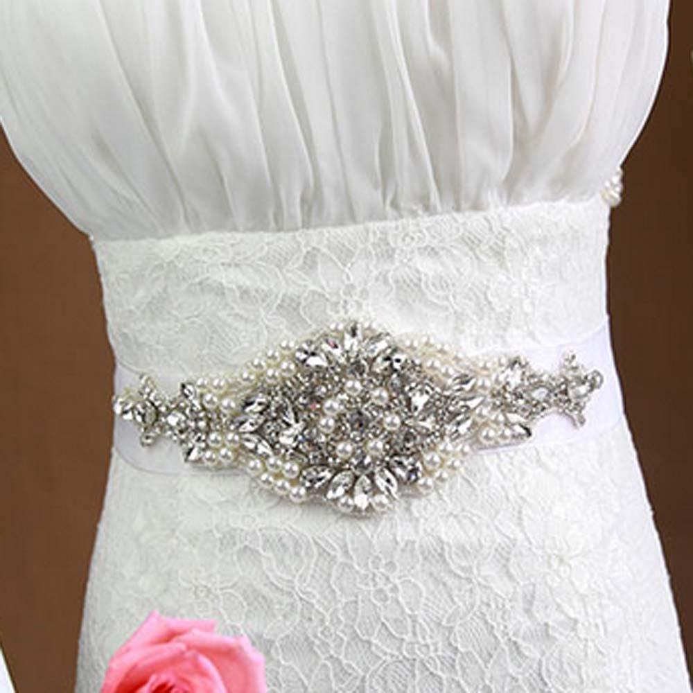 Crystal Bridal Sash-Rhinestone waist Faux pearl dangle applique Dress Belt HR367