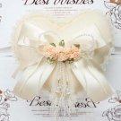 Bridal Heart Artificial flower ivory ring pillow cushion ring holder BA204