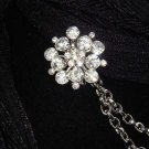 Vintage style Rhinestone Czech crystal Scarf Sweater Flower clip PI66