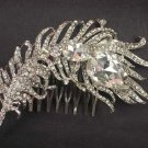 Bridal Clear Rhinestone feather Headpiece crystal Hair Tiara Comb RB572