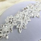 Bridal rhinestone flower lace Adjustable wire forehead band Hair Tiara HR350