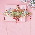 Bridal Chinese traditional gold tone colorful flower Hair Phoenix Crown HR358