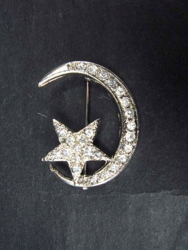 Bridal Silver tone Clear Crystal Moon Star Czech Rhinestone Brooch pin PI311