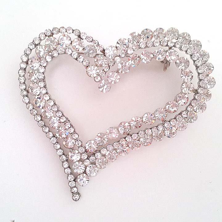 Bridal heart crystal scarf deco Czech Rhinestone Brooch pin PI602