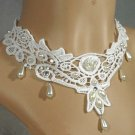 Gothic sexy Lolita White Faux Pearl Rose Lace ribbon bead Choker necklace NR305