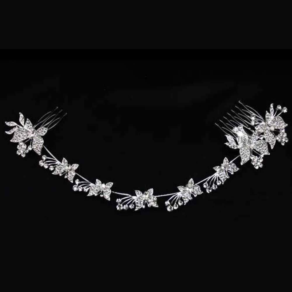 Bridal Rhinestone Butterfly Headpiece clear Crystal Hair tiara Comb RB669