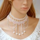 Bridal white pink Lolita Lace dangle Flower prom white necklace NR469