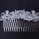 BRIDAL FLOWER HEADDRESS CLEAR RHINESTONE HAIR TIARA COMB RB638